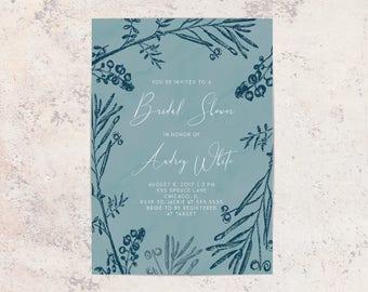 BLUE FLORAL Bridal Shower Invitation, Bridal Shower Invitation, Stationary, Floral, Watercolor, Shower Invite, Hand Painted