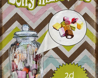 Nostalgic Sweets  Dolly Mixtures Metal Sign / Plaque Home Decor Kitchen  Stunning Gift