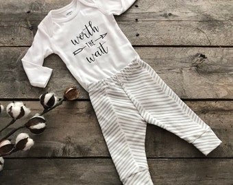 Gray chevron baby leggings; take home outfit; worth the wait onsie; baby shower gift