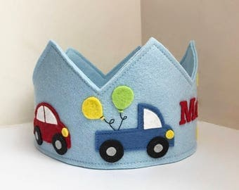 Car Birthday Crown, Wool Felt Crown, Transportation Crown, Party Hat,Personalized, Velcro closure
