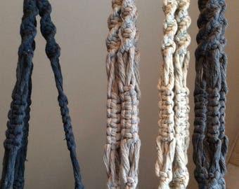 Elliot* Large macrame plant hanger, coloured cotton string, navy blue, light grey, unique home decor, bohemian style