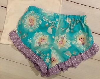 Princess Elsa girls ruffle shorts