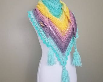 "Crochet Triangle Scarf Cowl Shawl ""Valkyrie"""