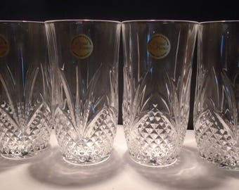 4 Lead Crystal Highball Glasses, De France Lead Crystal Tumblers, Drinking Glasses, Water Glasses, Vintage