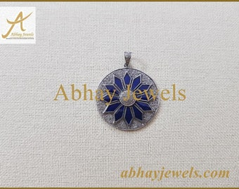 Silver Pave Diamond 35MM Pendent with Blue Enamel