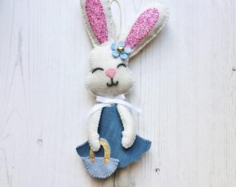 Bunny decoration  -felt bunny- -felt bunny ornament- -hanging felt bunny- -felt bunny gift- -spring bunny decoration-