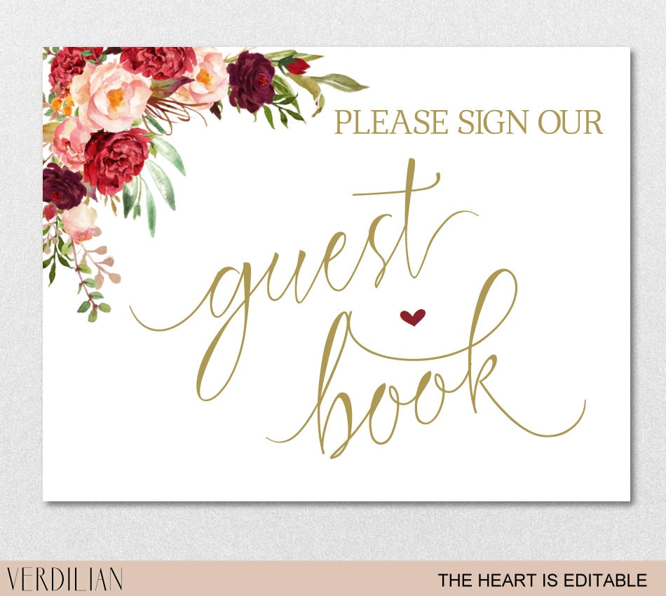 Guest Book Sign Printable Template, Please Sign our Guest Book Gold ...