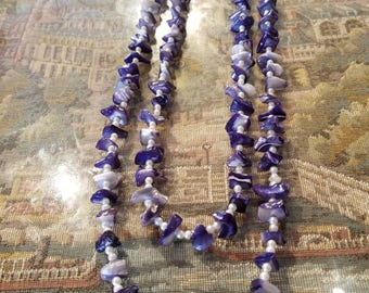 Blue shell necklace  48 inches