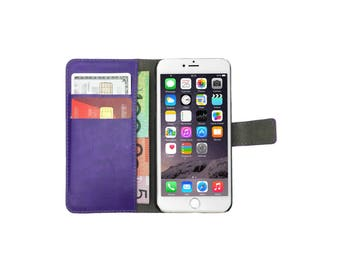 Purple Leather Flip Case Wallet Cover Stand for iPhone 7, 7 Plus, 6, 6S, 6 Plus, 6S Plus, SE, 5, 5S