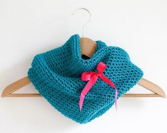 Turquoise Tubular Infinity Scarf Double Layered Handmade Crochet Cowl