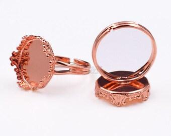 20pcs Adjustable Ring Blanks-15mm Setting Ring Blanks Bezel-Circle Ring Base Blanks-15mm Round Cabochon Setting Bezel Ring Blanks-6 Color