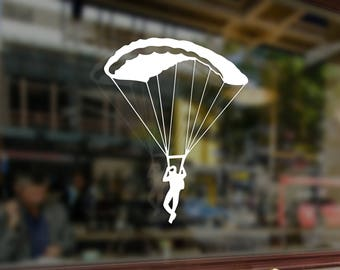 Skydiving Parachute Jump Vinyl Stickers Funny Decals Bumper Car Auto Computer Truck Laptop Wall Window Glass Skateboard Snowboard Helmet
