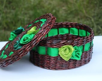Lidded basket Storage box Paper basket Storage Wicker basket Woven willow basket Farmhouse rustic