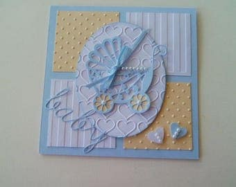 Custom Baby Card, Handmade Baby Boy Card , Card with Baby Carriage, Baby Boy card, Baby Shower card, Expectant Mother, Blue Carriage card