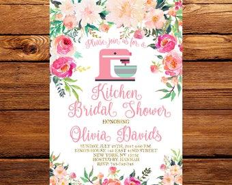 Floral Kitchen Bridal Shower Invitation,Pantry Bridal Shower Invitation,Cooking  Theme Bridal Shower Invite