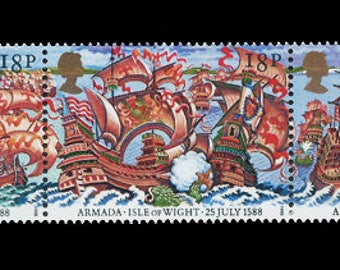 Great Britain 1988 Spanish Armada strip of five mint stamps.  Ideal for collector of British stamps or for craft work.  UK, England
