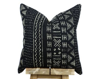 African Mudcloth Pillow Cover, Authentic Mud Cloth Pillow | Black and Off White | 'Leila'
