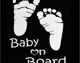 Baby on Board Baby Footprints Car Sticker Cute Letter Safety Warning Window Truck SUV Min Van