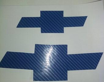 Chevy Bowtie  Blue Carbon Fiber 4D  Decals - High Quality 6 Sizes + 6 Colors Carbon Fiber