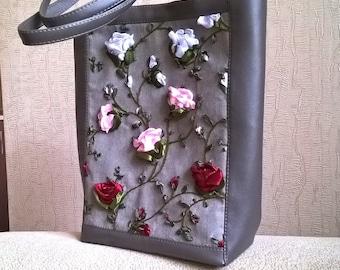Beautiful and Originla Eco bag_handmade satin ribbons embroidery_handbag_tote_Fisenko brand
