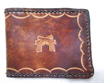 Genuine Leather,  Brown Billfold Wallet With Handguns Stamp.  Personalized Wallet, Gun, Handgun, Billfold, Leather Billfold