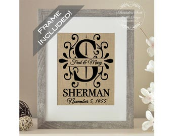 FRAME INCLUDED Burlap Monogram, Gift for Bride, Bridal Shower Gift, Anniversary Gift, Personalized Wedding Gift for Couple, Holiday Gift