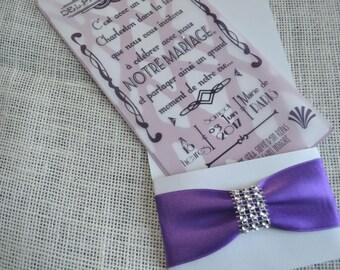 SHARE wedding white bag with purple satin ribbon and rhinestone - style charleston