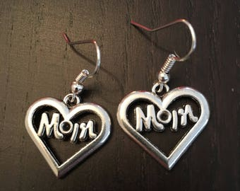 Mom heart silver earrings for Mother's Day or birthday