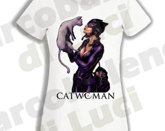 T-shirt for lady women Catwoman comics t-shirt cartoon characters 80's batman villain inspired
