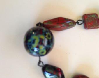 Handmade Glass and Dragon Blood Jasper Beaded Necklace