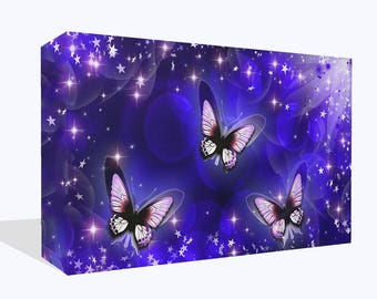 Abstract Pretty Butterfly Comes In Three Colours Print Wall Art Ready To Hang Or Poster Print