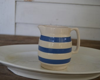 Vintage Staffordshire ChefWare blue and white creamer