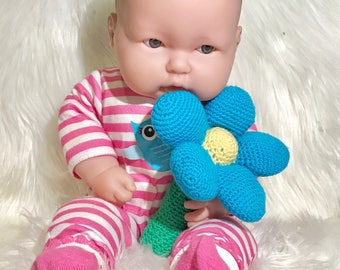 Flower Baby Squeaker, handcrochet, soft cotton, baby toy