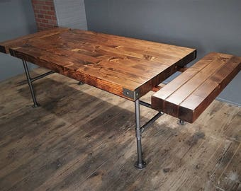 Thick Wood Butcher Block Top Table with Extensions, Rustic Dining Table, Industrial Steel Pipe Base