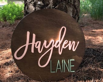 "18"" Round Custom Name Wood Sign • Wood Cutout • Nursery Decor • Name Cutout • Wood Cutout • Custom • Nursery Name Sign • Wood Decor"