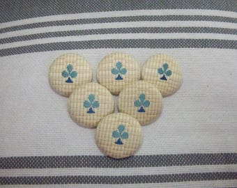 SET OF 6 BUTTONS COTTON CREAM WITH A BLUE CLOVER.