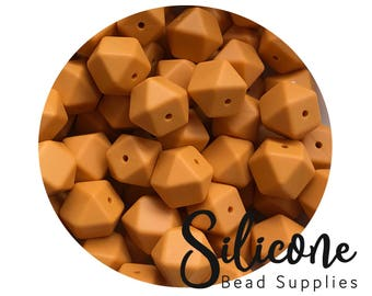 17mm - Mango Hexagon Silicone Beads, Silicone Teething Beads, 100% Food Grade Silicone Beads, BPA Free, Silicone Loose Bead