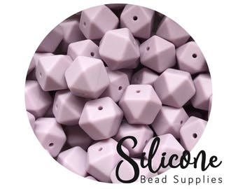 17mm - Lilac Hexagon Silicone Beads, Silicone Teething Beads, 100% Food Grade Silicone Beads, BPA Free, Silicone Loose Bead