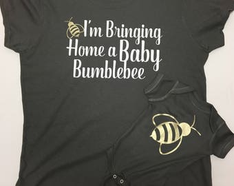 Bringing home a baby bumblebee,Mommy and Me outfit,  Baby Bumble Bee Set, bumblebee, bumble bee, baby bumblebee ,bumble bee onesie