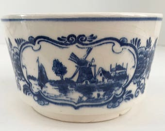 Vintage Hand Painted Delfts Blauw Blue and White Windmill Scene Bowl Holland