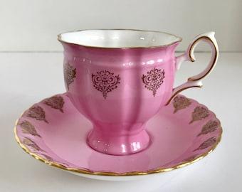 Crown Staffordshire England Fine Bone China Pink Teacup and Saucer E 612