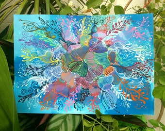 "Abstract painting, abstract painting done with markers posca and acrylic painting titled ""For Samantha"""