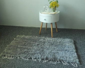 Genuine Woven Natural Sheepskin Rug - Handcrafted - Hues of Gray Carpet| 40' x 24'