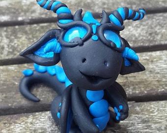 Blue and Black Twist dragon,  miniature,  Polymer clay.
