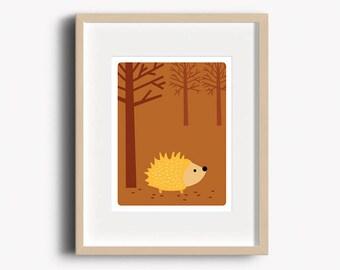 Hedgehog Print - Home Decor - Woodland Nursery - Hedgehog Art Print - Wall Art