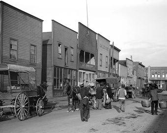 "1904 Chinatown Street Scene, Vancouver, BC Vintage Photograph 11"" x 17"" Reprint"