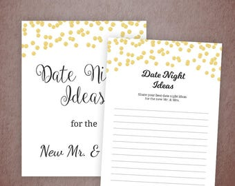 Date Night Idea Cards Printable, Gold Confetti Date Night Sign, Date Night Bridal Shower, Wedding Advice Card, Bachelorette Shower, A001