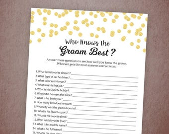 Who Knows the Groom Best Game, How Well Do You Know The Groom Printable, Gold Confetti Bridal Shower, Bachelorette, Wedding Shower, A001