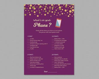 What's in Your Phone Game, Bridal Shower Games Printable, Purple Gold, Instant Download, Wedding Shower, What's on Your Cell Phone, A006