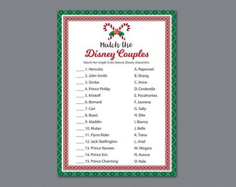 Christmas Disney Couples Match Game, Match Disney Couples, Bridal Shower Game Printable, Festival Candy, Famous Couples Match Game, A024